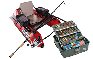 Fishing rod-tackle box-bellyboat icon