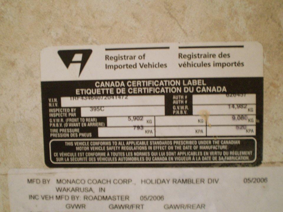 2007 Monaco Rambler-Canada Certification Label