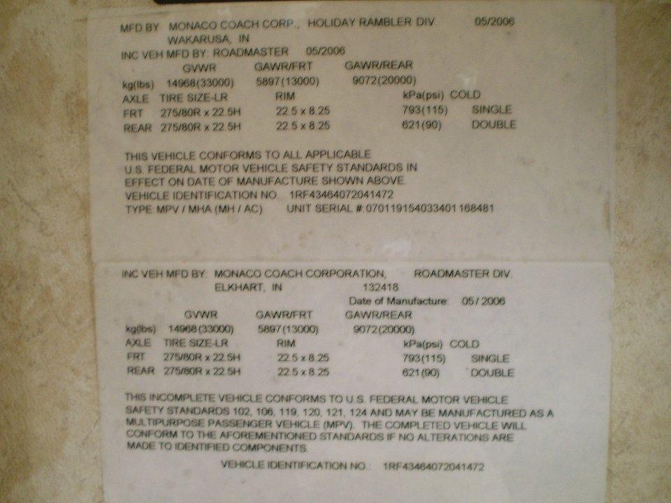 2007 Monaco Rambler-Manufacturers Label