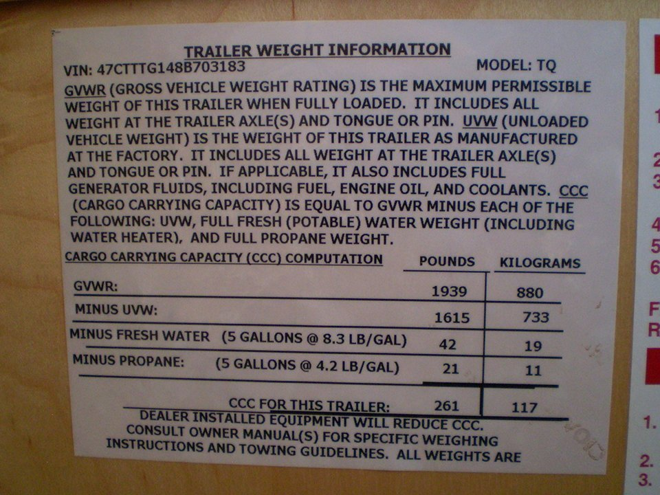 2008 Tab Trailer Weight Specs Plate