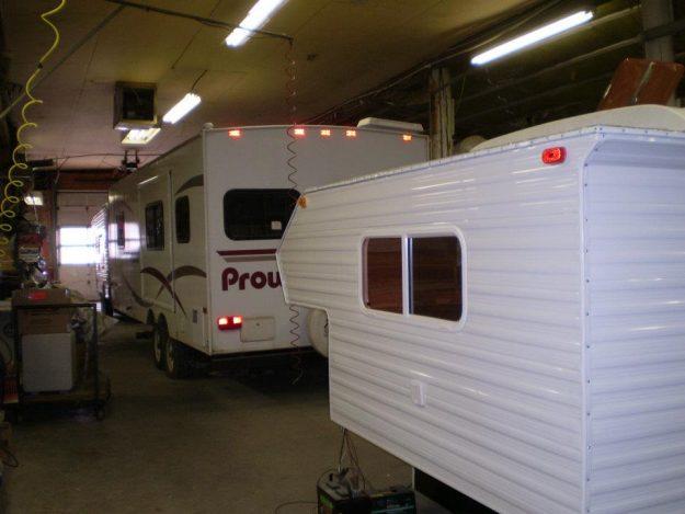 RV Camper Units in repair shop